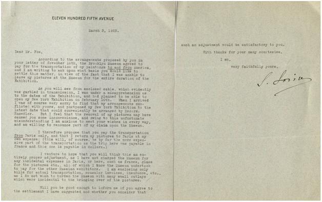 Письмо С. Сорина в Бруклинский музей из дома О. Кона на пятой авеню в Нью-Йорке