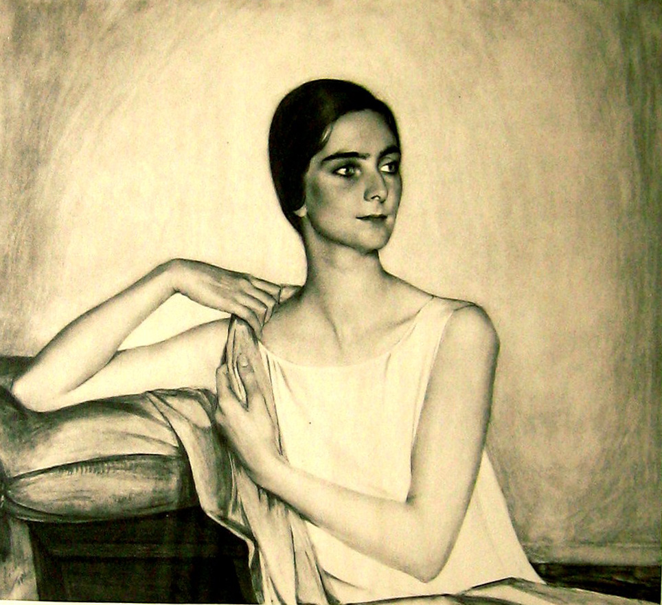 Портрет женщины ,сидящей у стола 1926.фотогравюра из альбома.