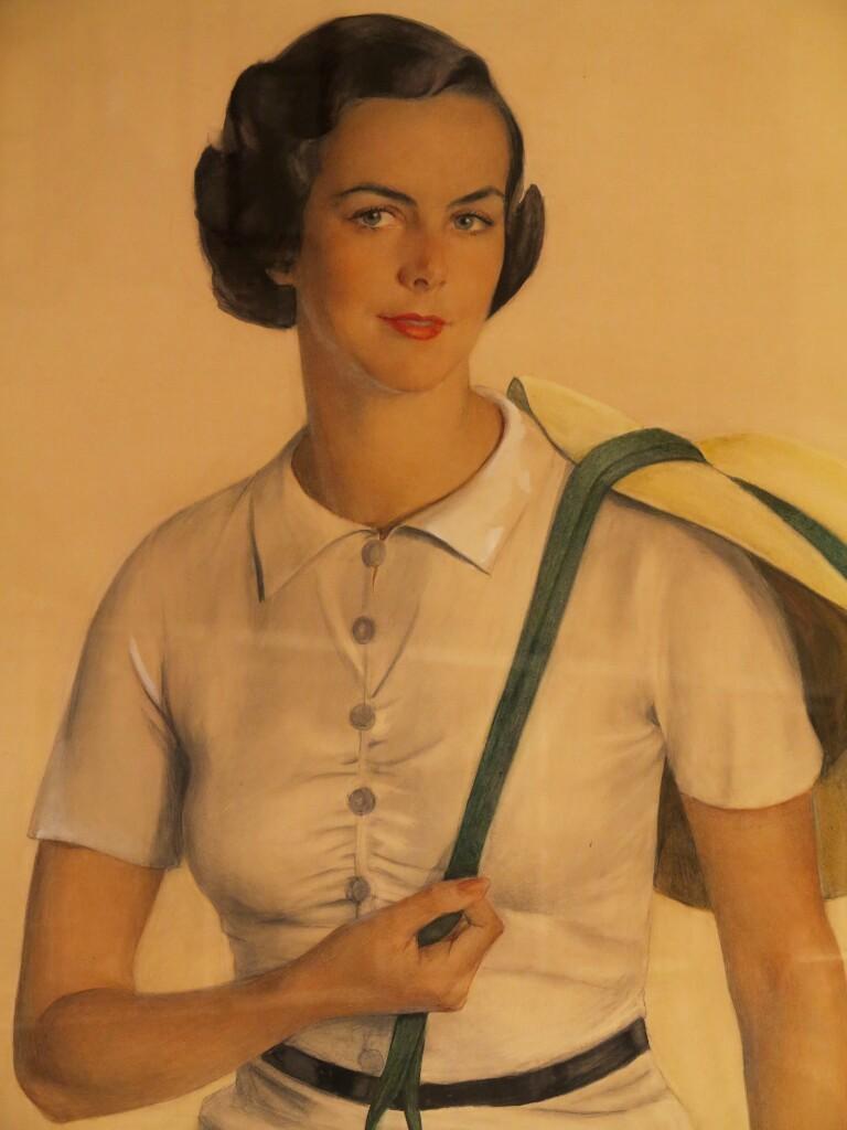 Портрет миссис Гилберт Кон (жена сына, до замужества - Сара Джейн Хеликер - бродвейская танцовщица) 1934бум. на х.акв.,бел., гр. карандаш122x104 ГРМ