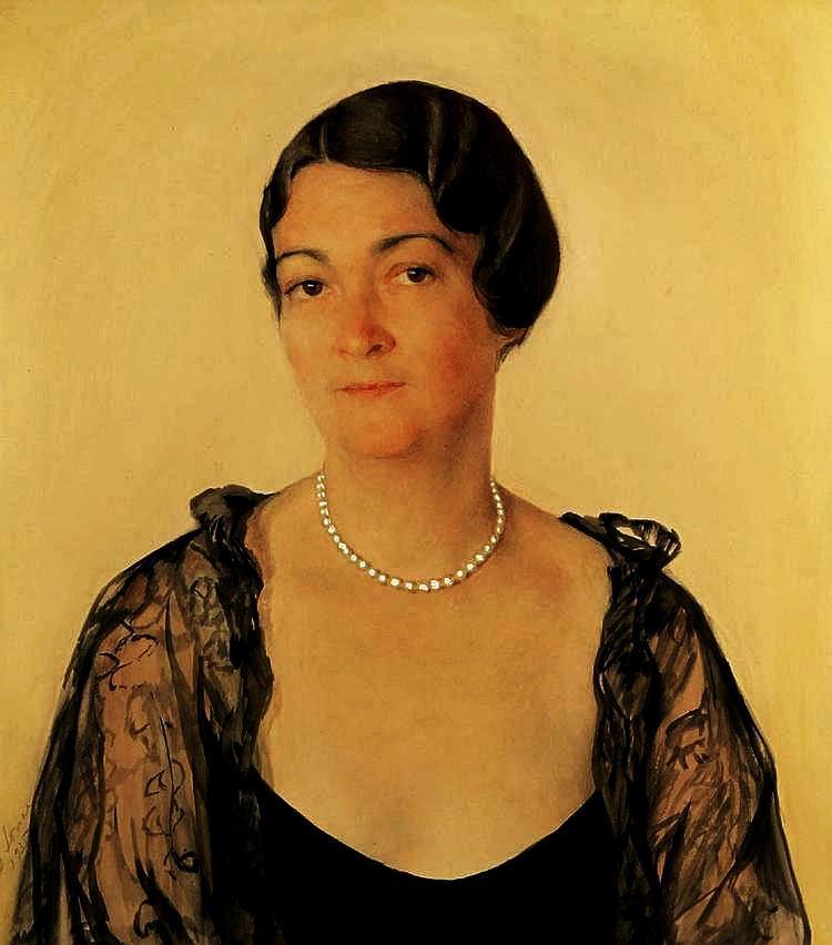 Портрет Александры                Мелон Гранд Хавкиной акв. гуашь 1935 бум.58.4x52,1