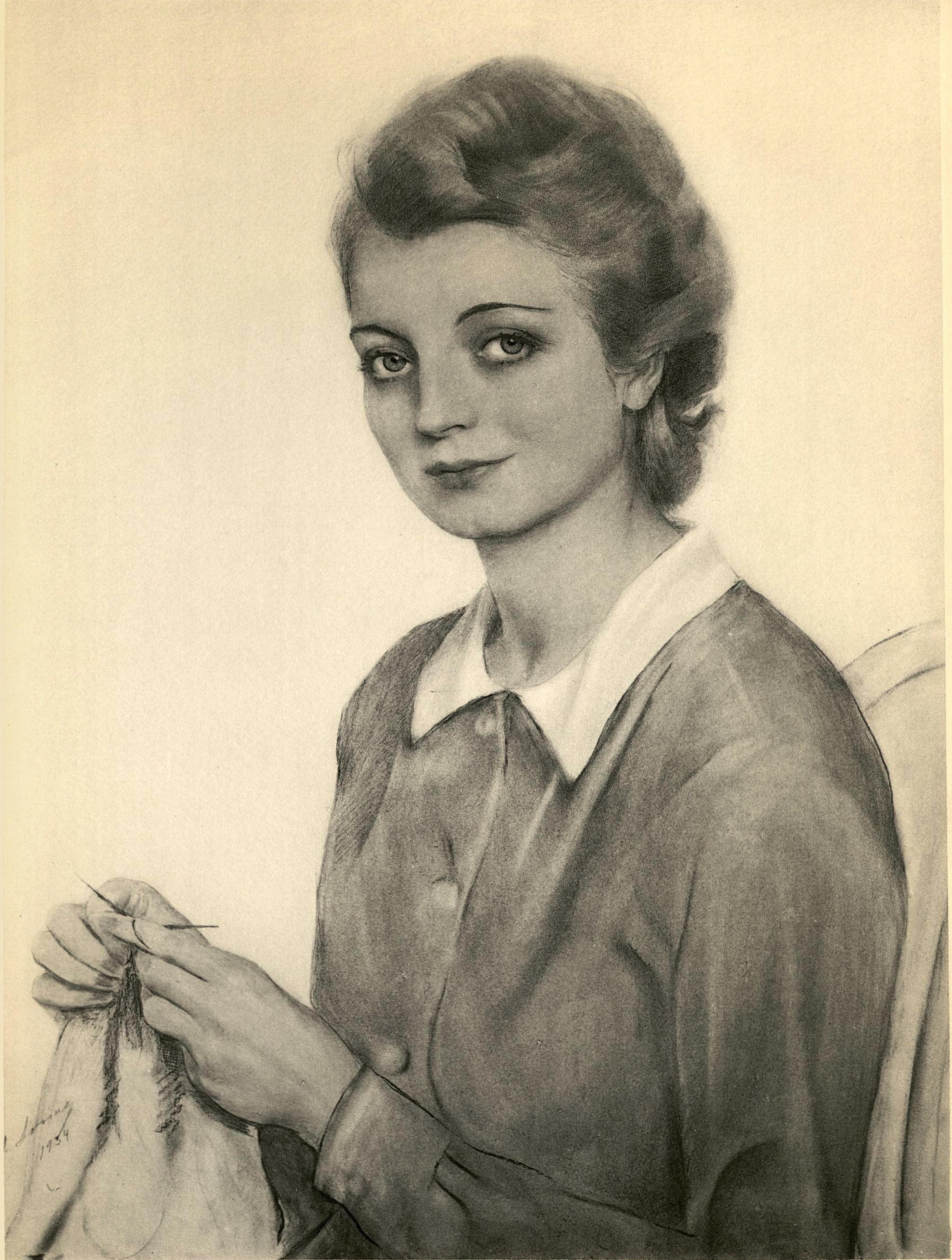 Портрет женщины с вязаньем 1934 г.