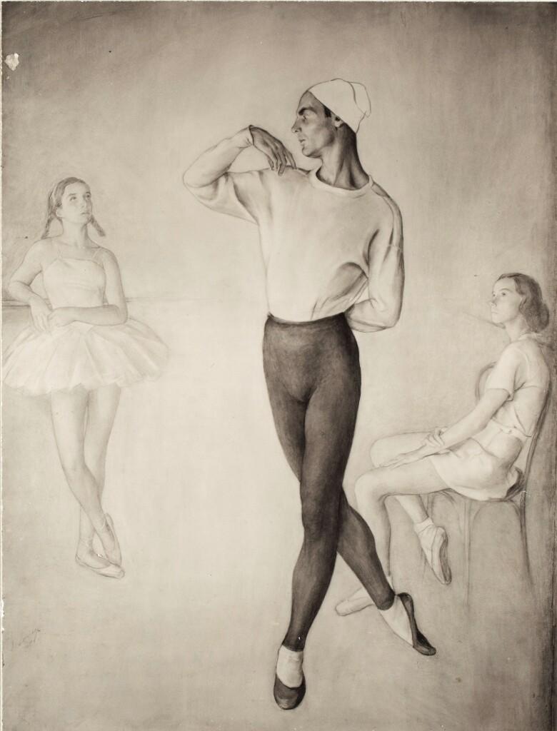 Дж. Володин.1945. Уголь, свинцовый карандаш. 90Х118