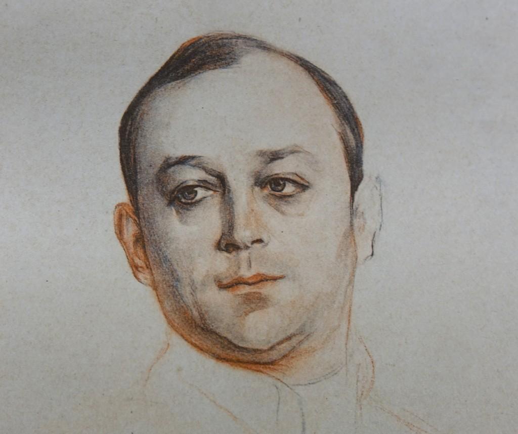 Портрет Л. В. Собинова бум. кар. сангина 1914