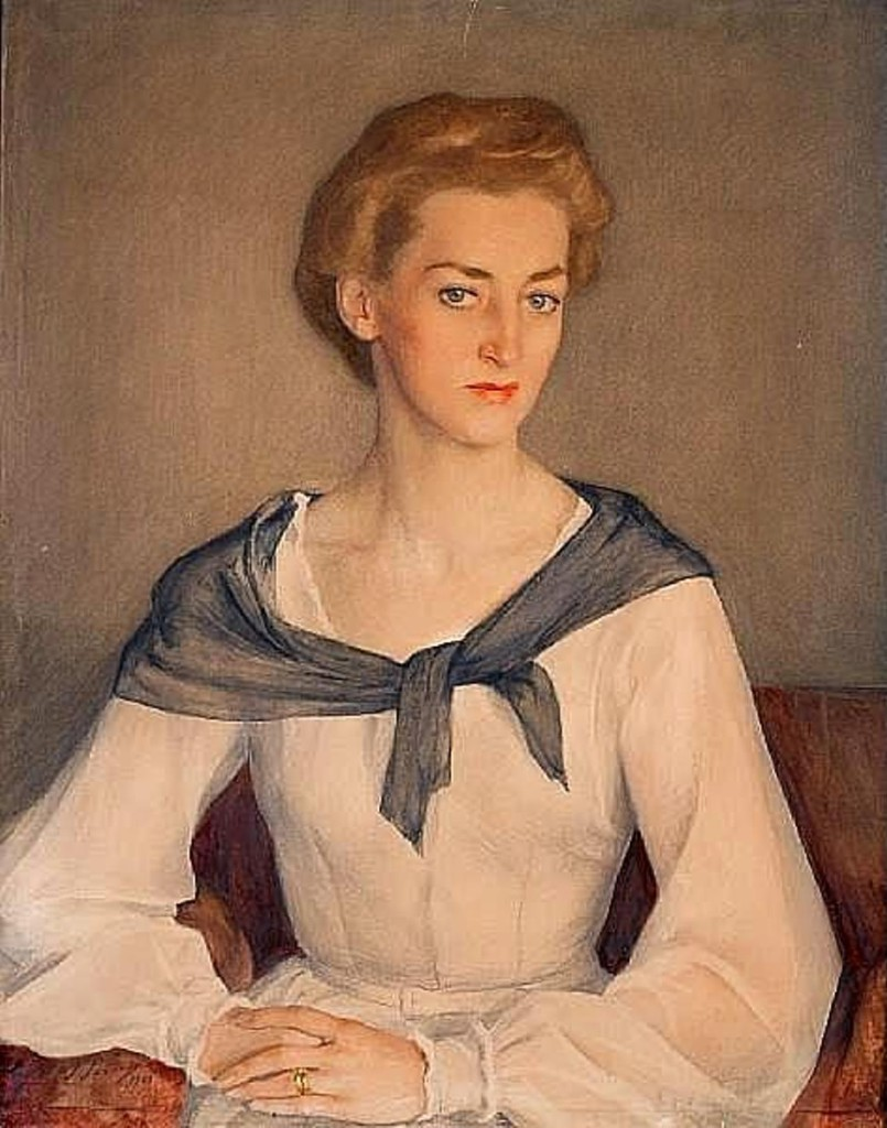 портрет княгини Ирины Оболенской.1948бум.на х. акв.кар.80.5x  64.5