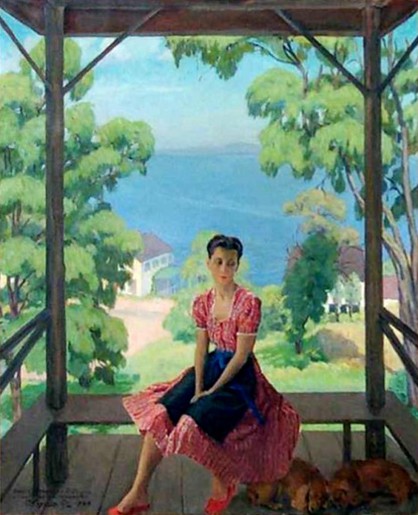 Портрет молодой женщины, сидящей на балконе (А. С. Сорина(-). 1945 х. м.85Х69