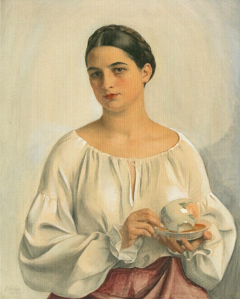 204б Портрет украинки с чашкой. 1930 уголь, акварель 92Х73, Выравненный