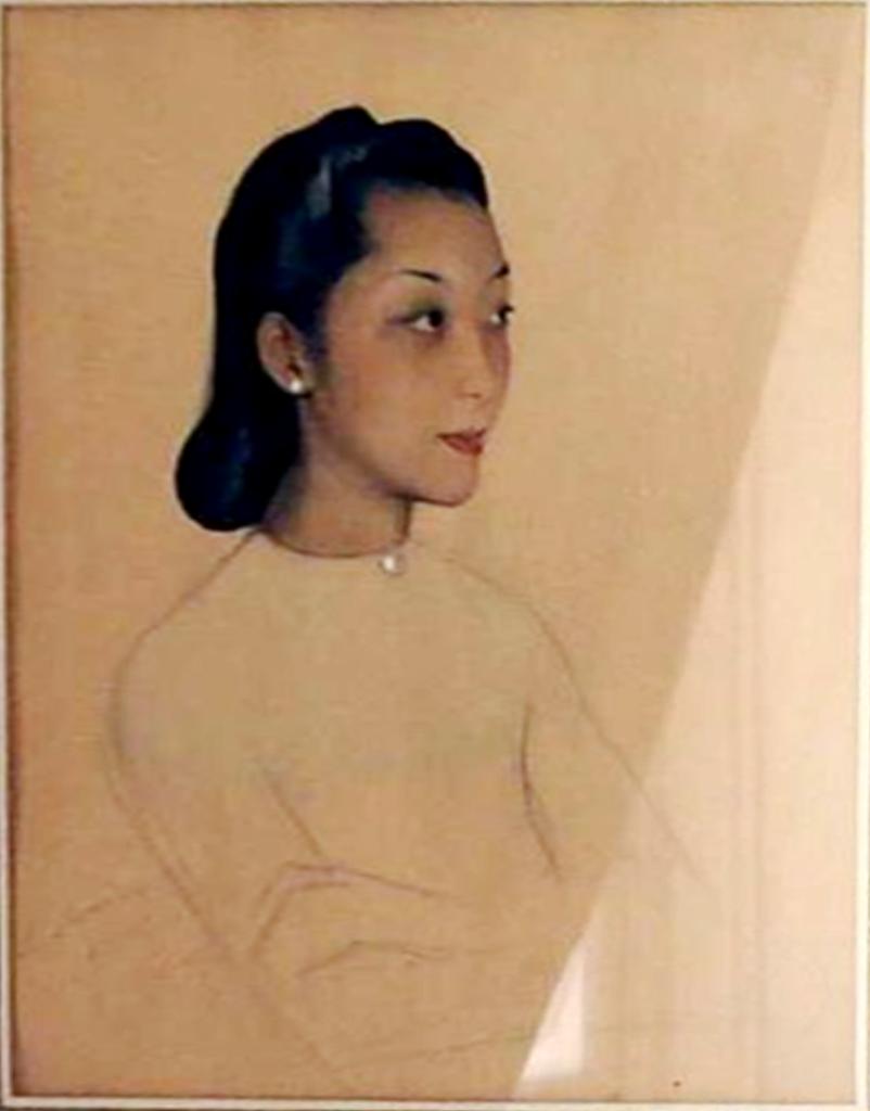 Портрет азиатской женщины.1946 Бумага, карандаш графитный,, акварель. 37Х29