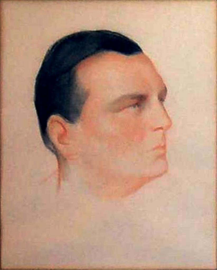 Мужской портрет.Бумага, уголь, сангина.  . 36Х29,