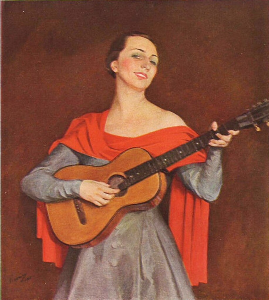 Гитаристка 1925г.бум. на х. смеш. техн.