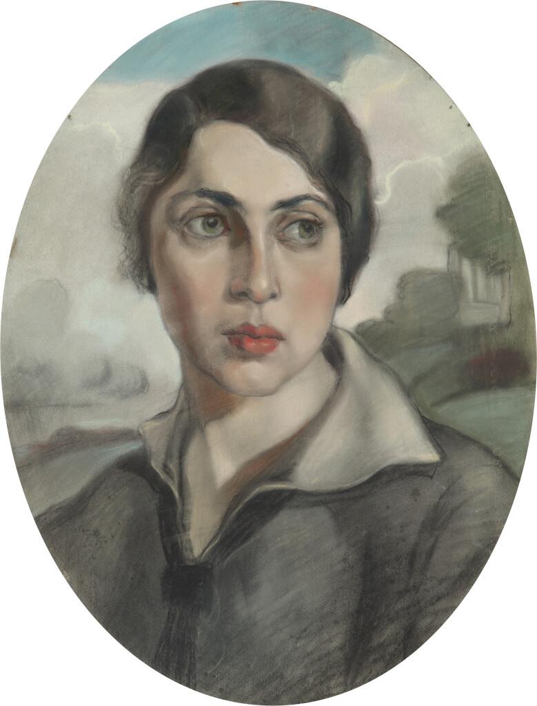 Портрет Б.Г. Орловой.Бумага, пастель, уголь 56 х 42 (овал) 1914