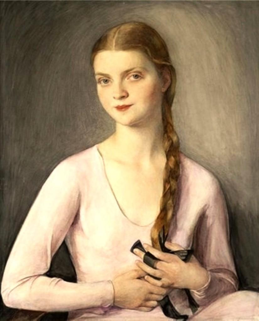 Портрет Марины Шаляпиной-Фредди(-миссРоссия1931г.) дочь Шаляпина1951 бум.на х. пастель,акв.кар.83x68