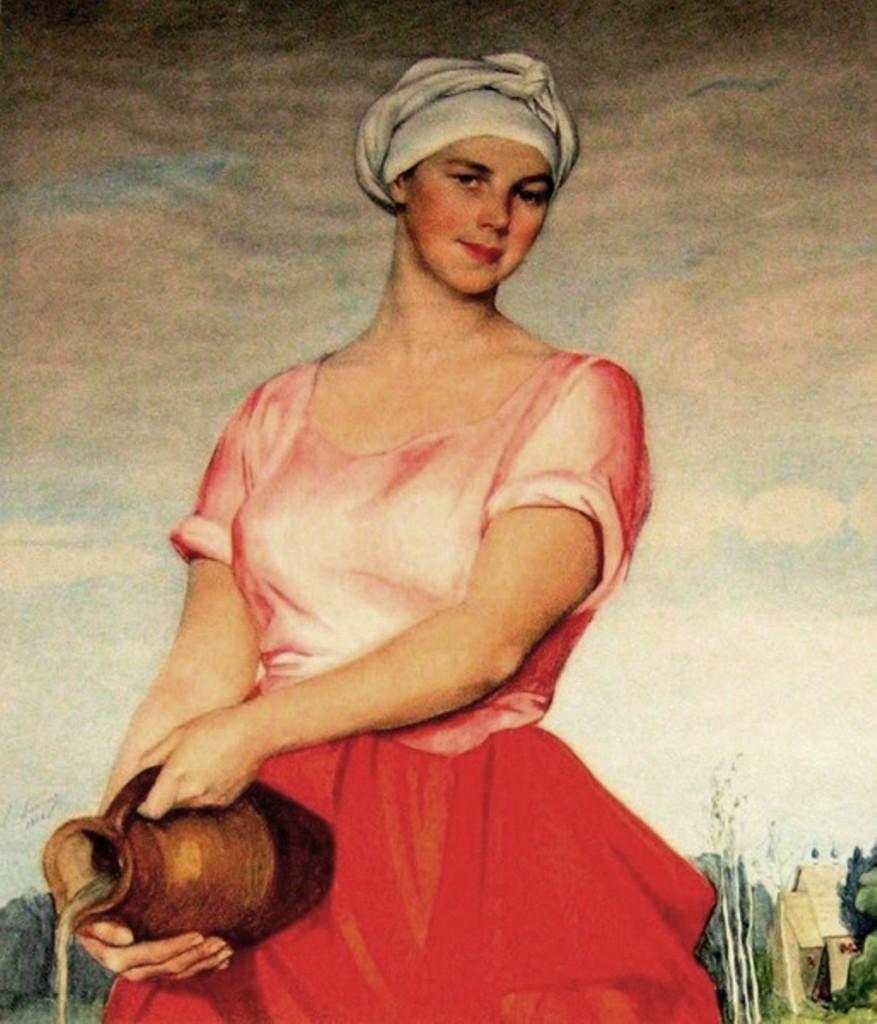 Волжская женщина с кувшином 1920-е 55'88x43'18см бум. на х. смеш. техн.