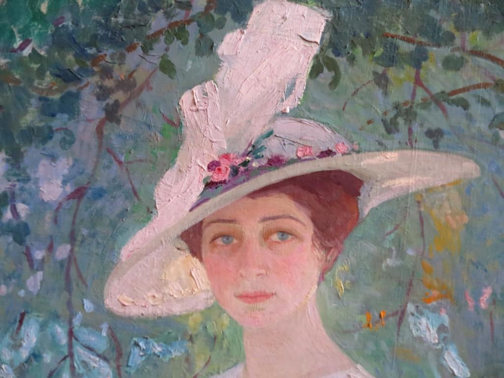 Портрет девушки под деревьями 1911г. х.м. ГРМ( фрагмент)