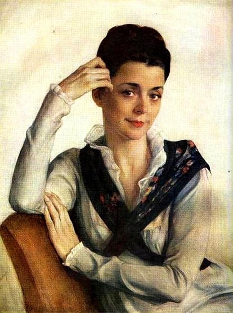 Портрет жены художника (А.С.Сориной).1943 63.5 x61(бум. смеш. техн. 82х67)ГТГ