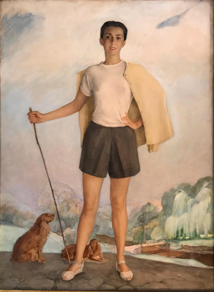 Портрет Анны Сориной (Девушка с собаками)1944 Бумага, акв. пастель. 120Х89. Ч. с.