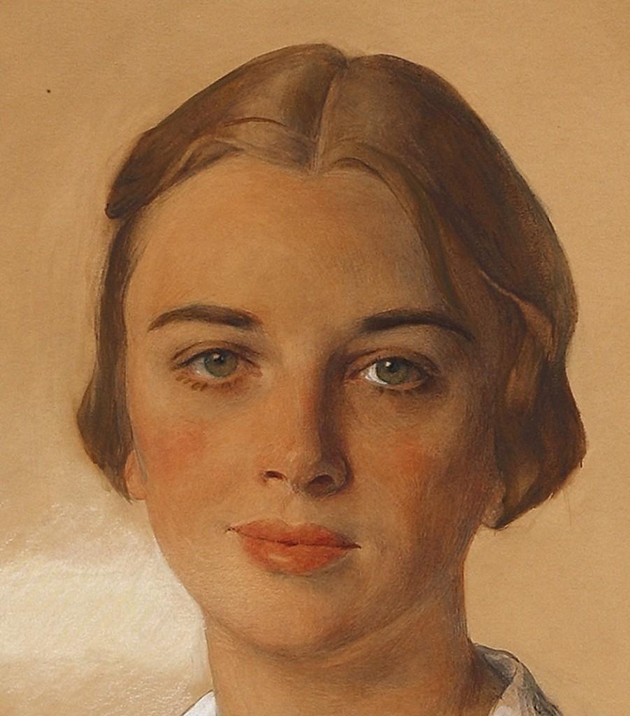 Портрет Дженис Феррара Рейган (Риган)1928 бум.на х. кар.акв.гуашь мел 69.2x55.7