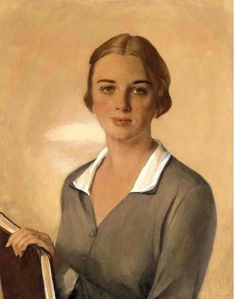 Портрет Дженис Феррара Рейган (Риган)1928 бум.на х. кар.акв.гуашь мел69.2x55.7
