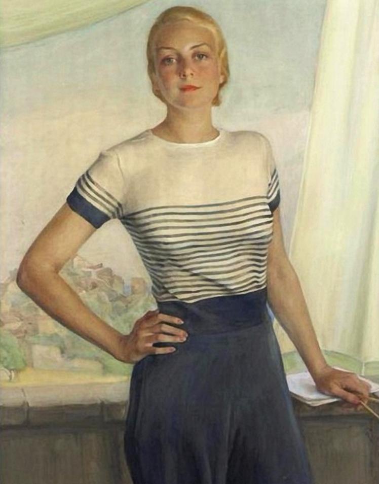 портрет герцогини Бедфордской- Марии Рассел 1932г.бум.на х.акв.цв.кар.116x84