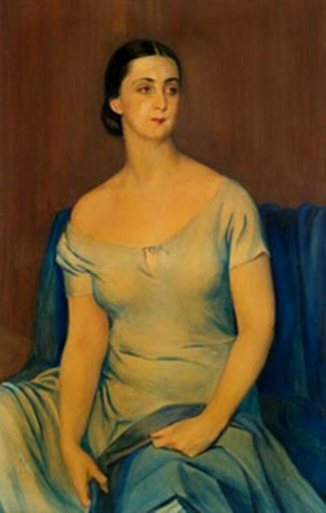 Портрет сидящей женщины 1926 бум.на х.акв.113x71.4.