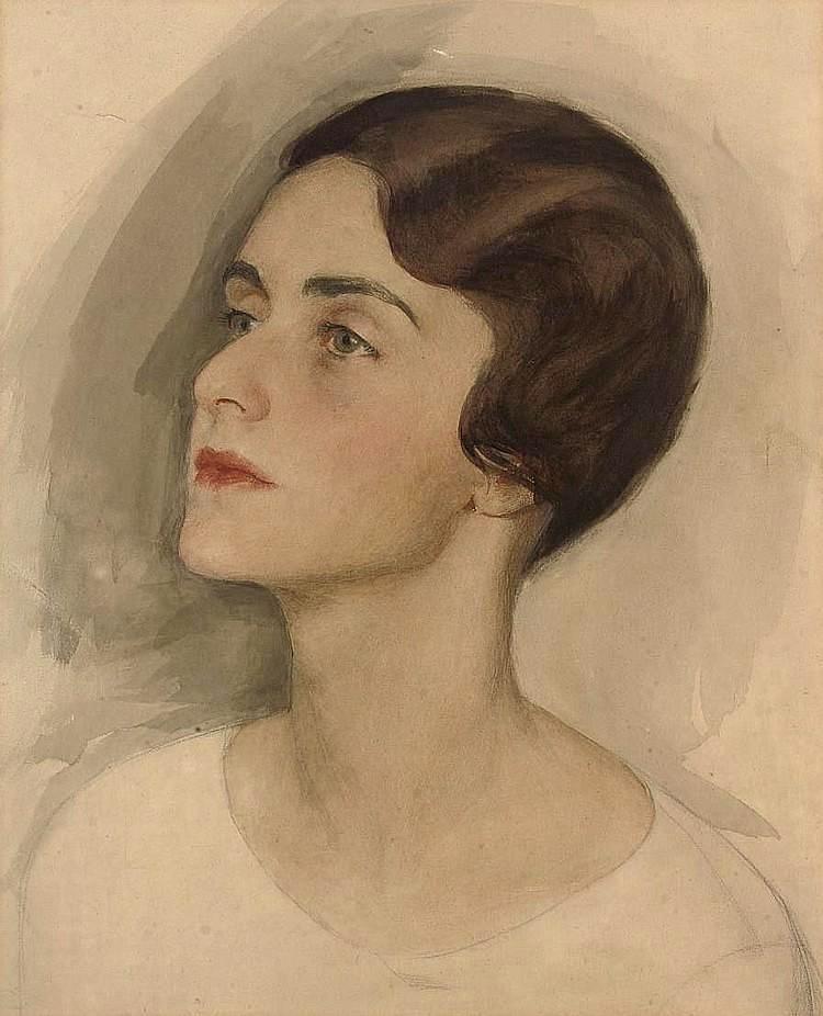 портрет леди- c 15. 6 .1920- Мод John Марриот-Дочь Отто Нermann. Кона -после 1920г.бум. кар. перо кисть чернила акв. гуммиарабик52.7x40.6
